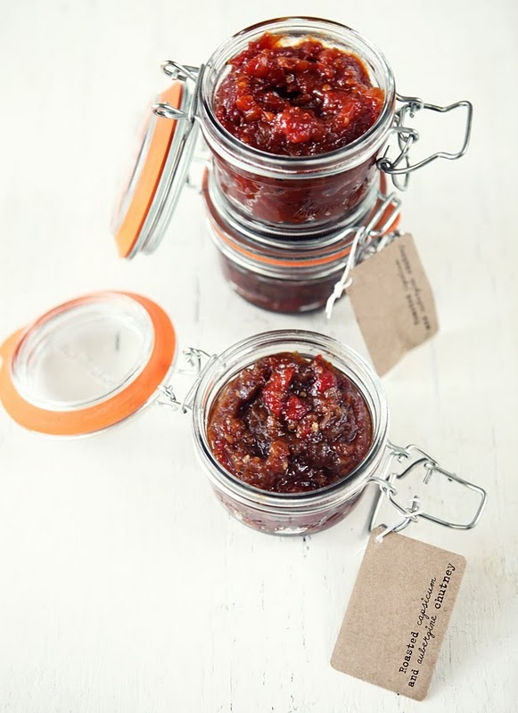 ate: roasted capsicum and aubergine chutney and spicy vine tomato ...