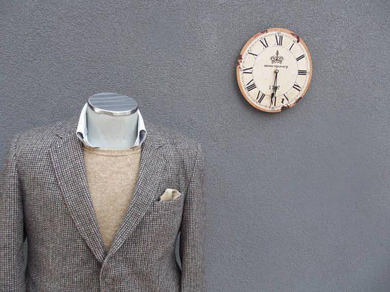 1980s Vintage Grayish Brown Tweed Jacket / Vintage Mens Sport