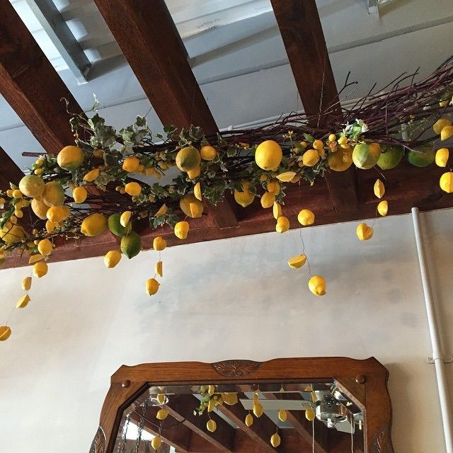 Lemon chandelier in a local cafe we made recently.