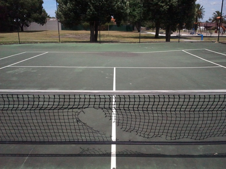 The local tennis court seems to be sagging in the middle. A whole new set of tennis skills are required.