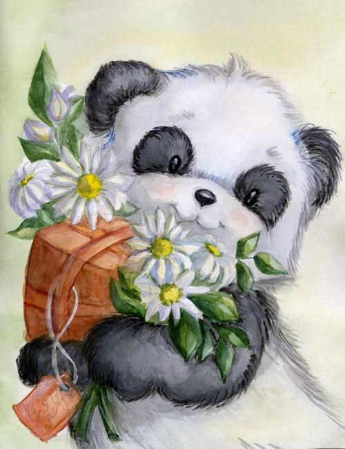 The panda and camomiles by MonkeyDKiba on @DeviantArt