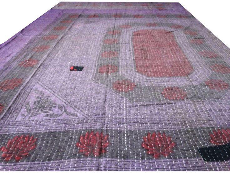 Reversible Kantha Quilt Vintage Bedspread Cotton Decorative Throw Gudri VIT 175 #Handmade #Traditional