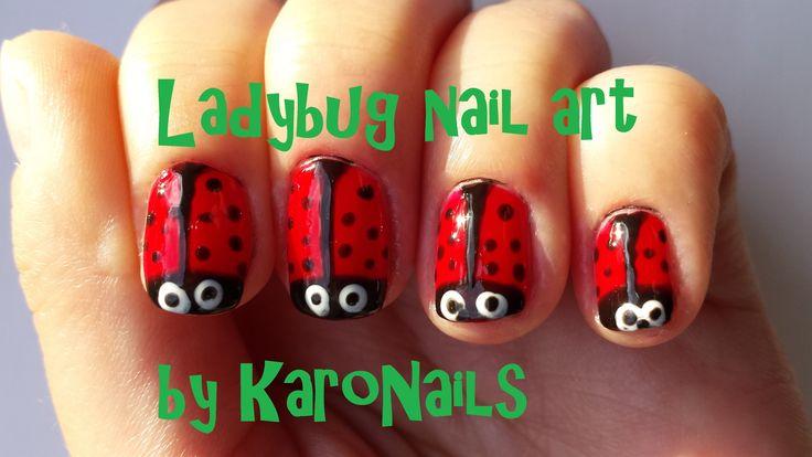 Funny ladybug nail art by KaroNails