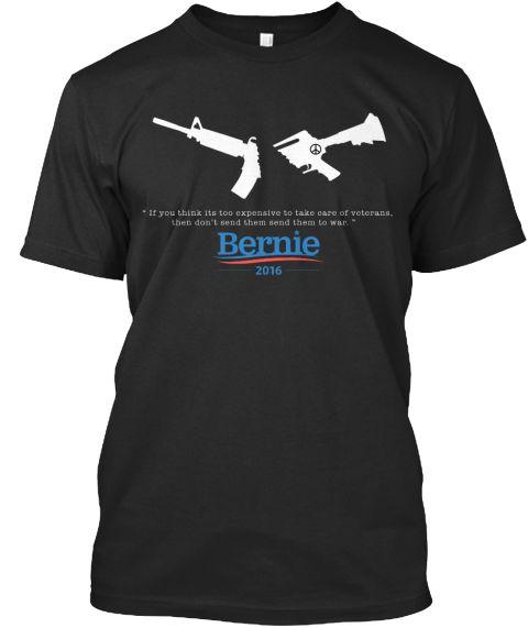 Bernie Stop The War Black T-Shirt Front
