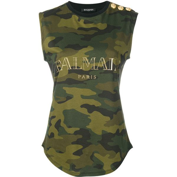 Balmain Camo Print Top ($690) ❤ liked on Polyvore featuring tops, green, camo print top, camo top, camouflage top, no sleeve tops and green sleeveless top