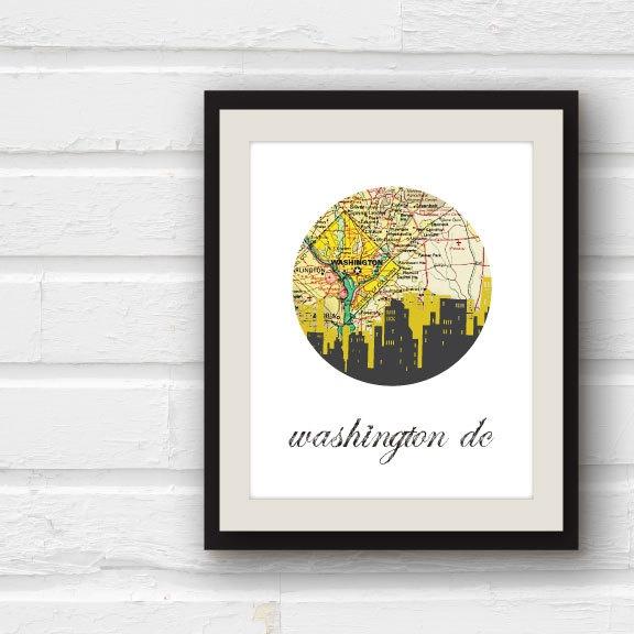 Washington DC Map - Washington DC Art - Washington DC print - 5x7 city skyline print. $12.00, via Etsy.