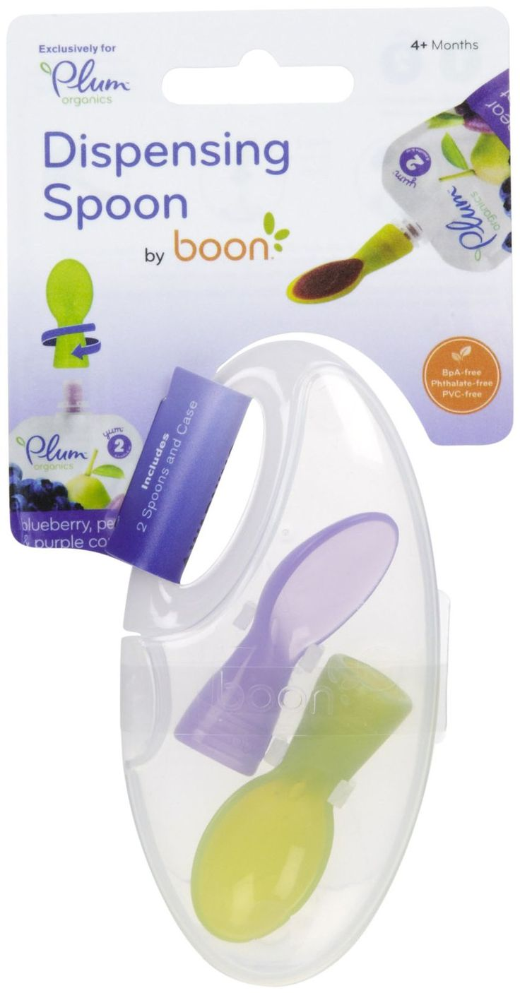 Boon Dispensing Spoon for Plum Organics - Works with any fruit pouch; the spoon just screws onto the end for on-the-go feedings.  It's a must-have!