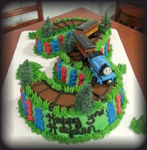 #3 cake. Thomas train cake.