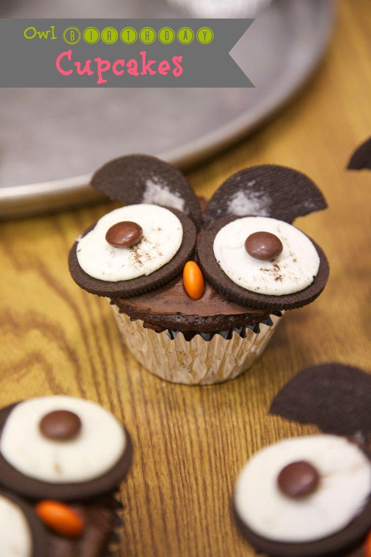 Owl Birthday Cupcakes