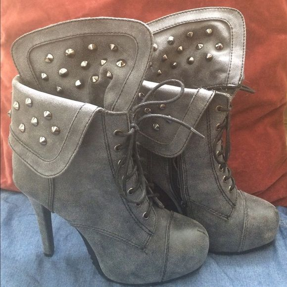 Boots Ash gray studded 4.5 inch heels. Excellent grip on the bottom of shoes,perfect for those new to wearing heels and/or for rainy weather. Can be worn 3 different ways (shown in photos.) Worn 3 times. Charlotte Russe Shoes Heeled Boots