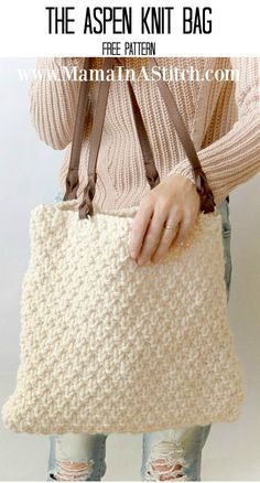 Aspen Mountain Knit Bag Pattern via @Mama In A Stitch Knit and Crochet Free Patterns