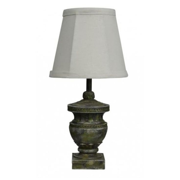Set of 2 Contemporary Calais Weathered Urn Accent Lamps with Dark White Shades, Gray