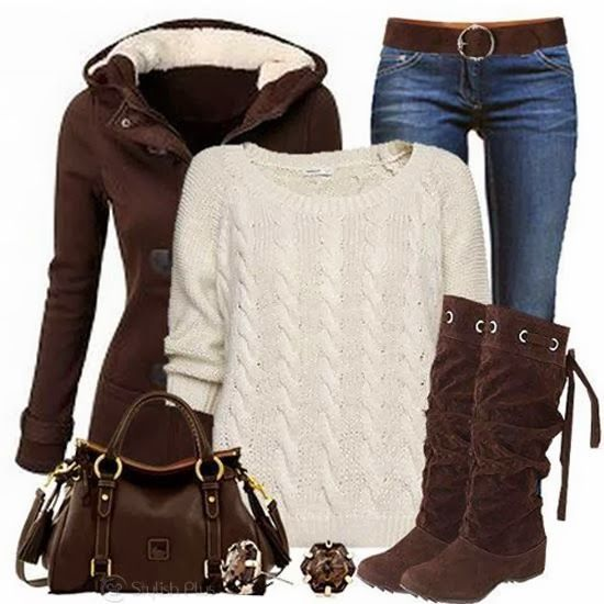 Brown suede slouch top tie boots, cream sweater, jeans, and brown shearling lined hoodie