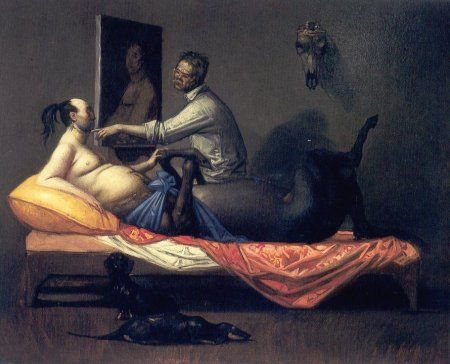 Riccardo Tommasi Ferroni  Autoritratto con Centauro in posa e cani, 1994  olio su tela, cm. 70x50