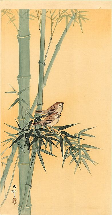 le-desir-de-lautre: Ohara Koson (Japanese, 1877-1945), Sparrows on Bamboo Tree, 1910. Woodblock print; ink and color on paper.