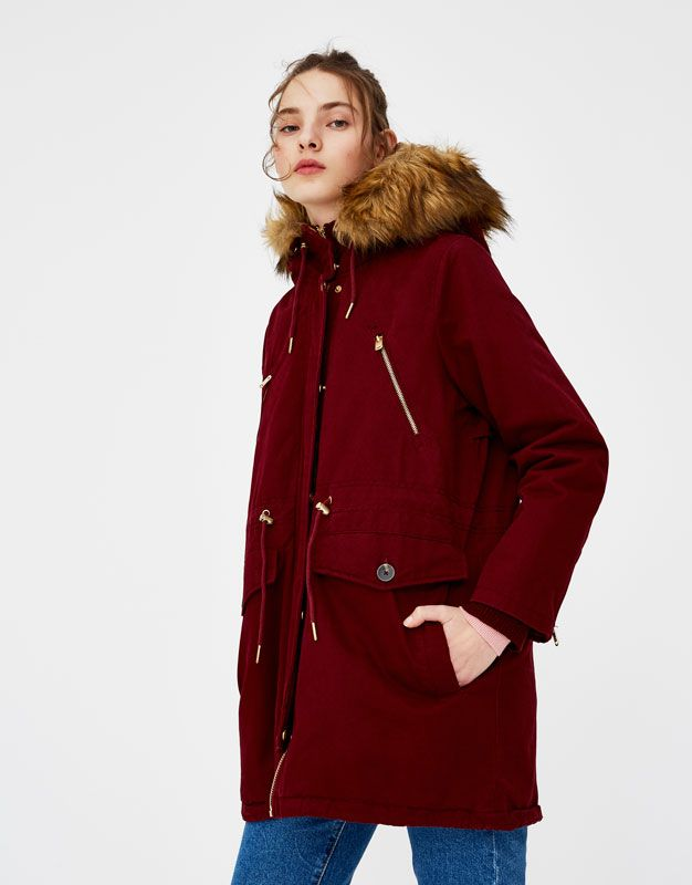 Lined parka with faux fur hood  2a08400caf9f