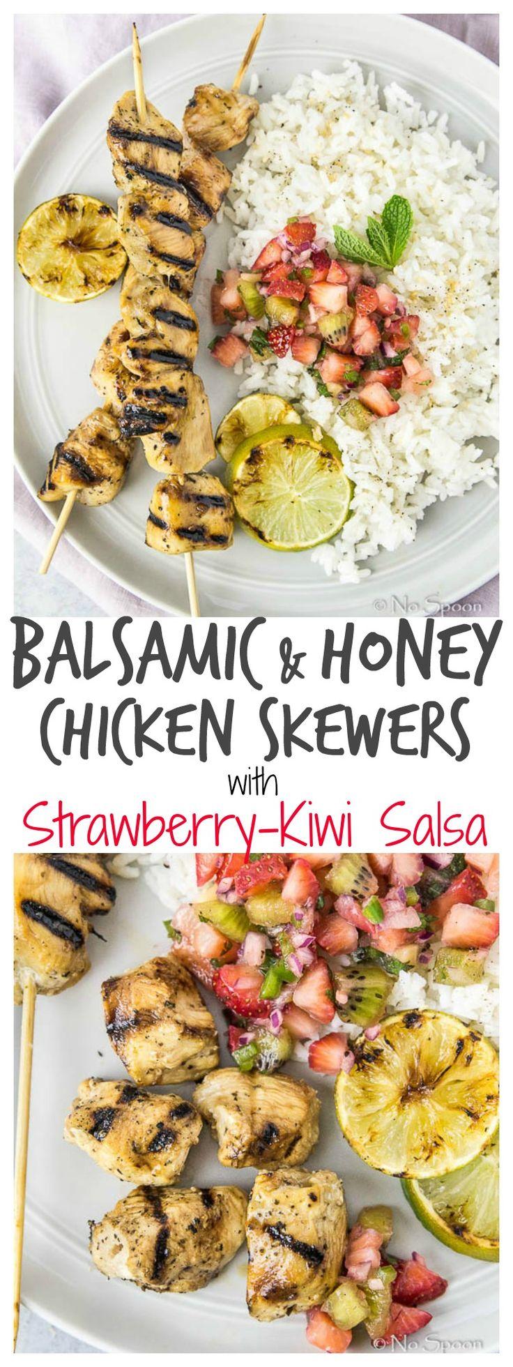 Balsamic & Honey Chicken Skewers with Strawberry-Kiwi-Jalapeno Salsa.