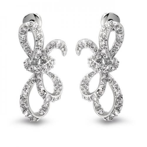 Ribbon Bow Bridal Stud Earrings Pave CZ Sideways Silver Tone