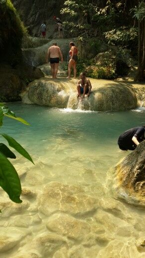 Swimming in the Erawan National Park Watervalls