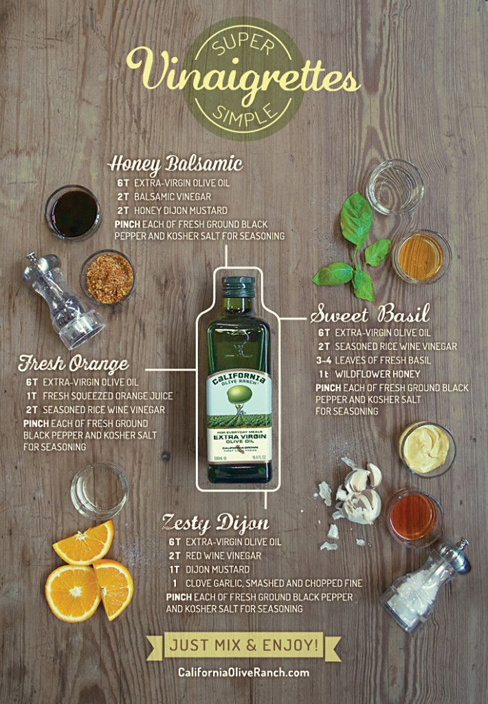 4 Super Simple Vinaigrettes - Every great vinaigrette starts with high-quality extra virgin olive oil.