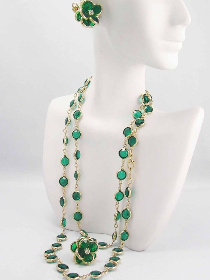 Swarovski Crystal open back Bezel RICH EMERALD GREEN Necklace & Earring SWAN TAG #SWAROVSKI