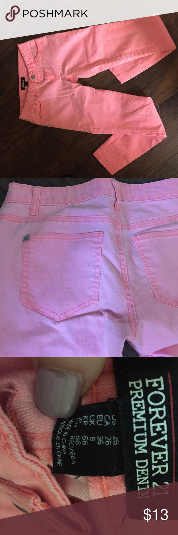 Coral Pink Stretch Jeans Coral Pink Stretch 👖 Jeans Bought and worn once , Great fit! Try bundling to save Forever 21 Jeans Skinny