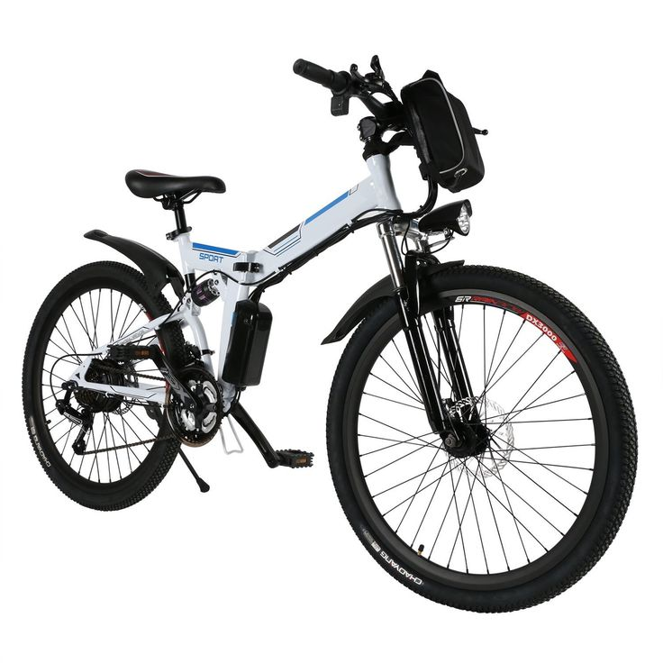 """Folding Electric Mountain Bike with with 26"""" Magnesium Alloy 6 Spokes Integrated Wheel, Fast Charge Large Capacity Lithium-Ion Battery(36V 250W) (White, One size)"""