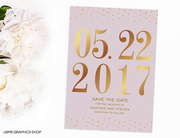 Gold Save The Date Card / U&Me Graphics