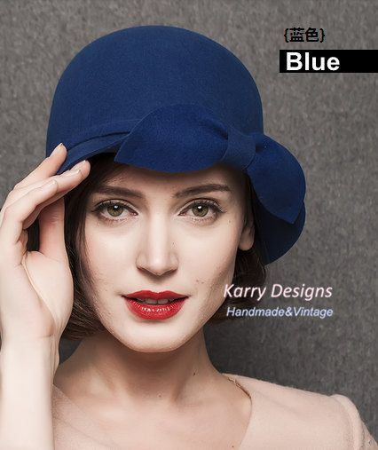 The new dome small hat ladies fashion fine bow pure wool felt hat basin cap