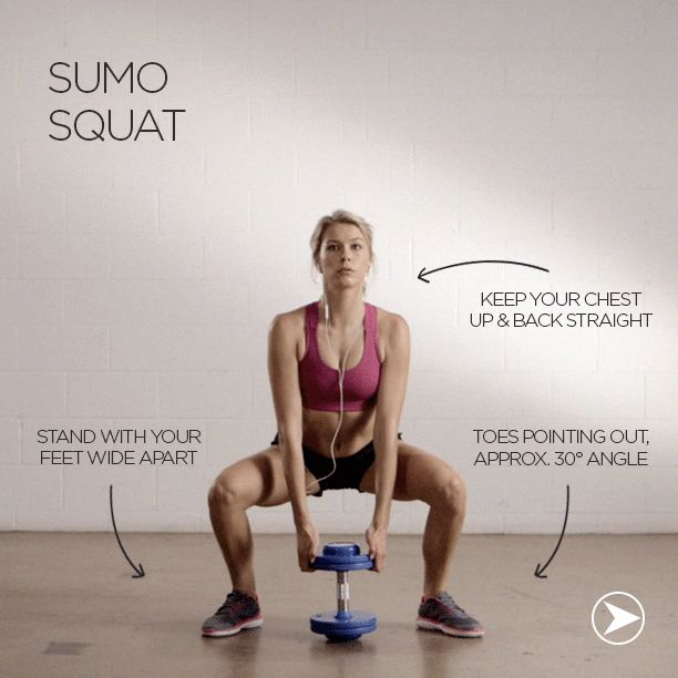 Dumbbell Sumo Squat: Perfect for shaping your butt & inner thighs. The sumo squat works your entire lower body & engages your core, shoulders and back. A great all round exercise!