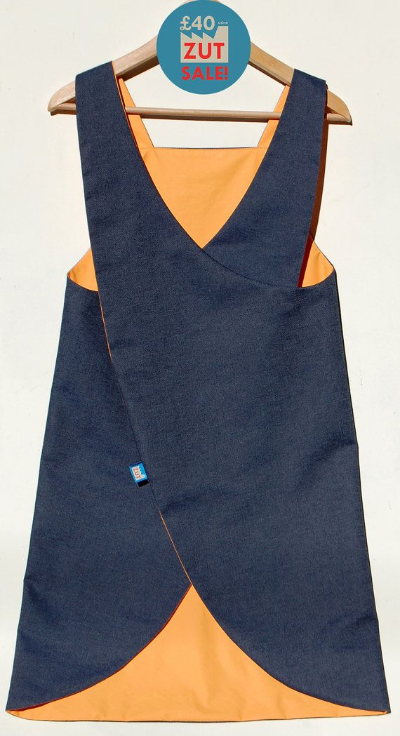 Denim Japanese Apron| Crossover back apron| waterproof craft apron
