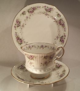 """Chantilly About: Elizabethan, """"Chantilly"""" From: second hand china stall at markets Price: $15 Quality: excellent Notes: my lovely mother bought this for me one very cold Sunday morning while she was visiting me. I adore this cup. It is very fine and I think the pattern name suits it well."""