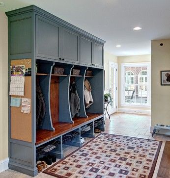 """Classic mudroom cubbies traditional entry - cabinet is 80"""" long by 8' high. The bench is 24"""" deep. The base color is Benjamin Moore #1672 Alfresco. It has a brown glaze applied over it."""