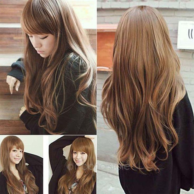Femmes perruques Classique Mode longue perruque ondulée Cheveux Perruques comple