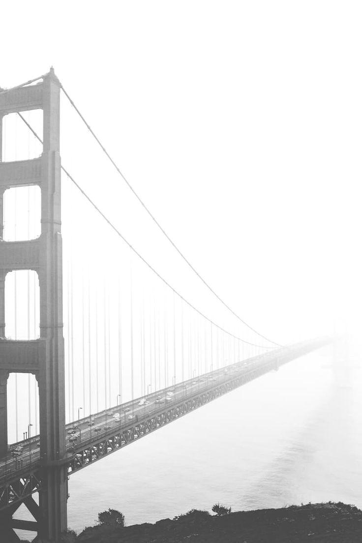 Free stock photo of black-and-white, bridge, fog, suspension bridge