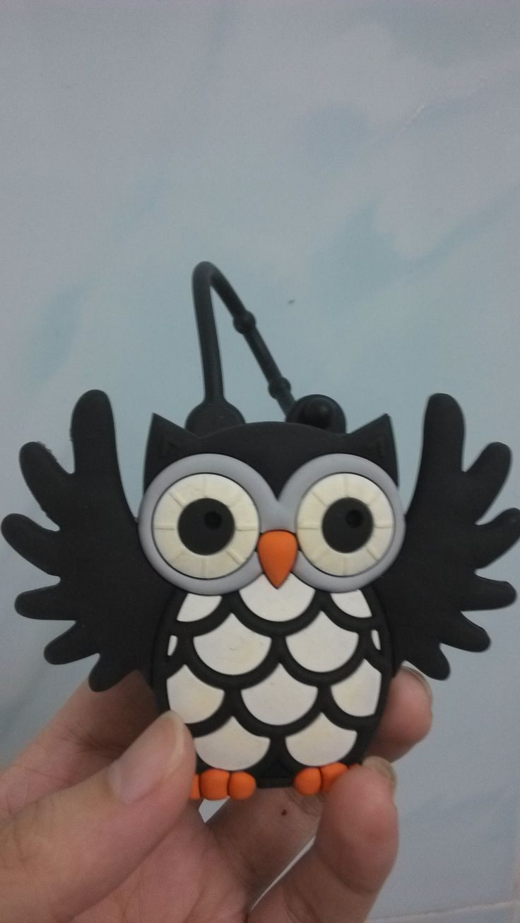 Black Owl Pocketbac Holder Silicone Hand Sanitizer Holder
