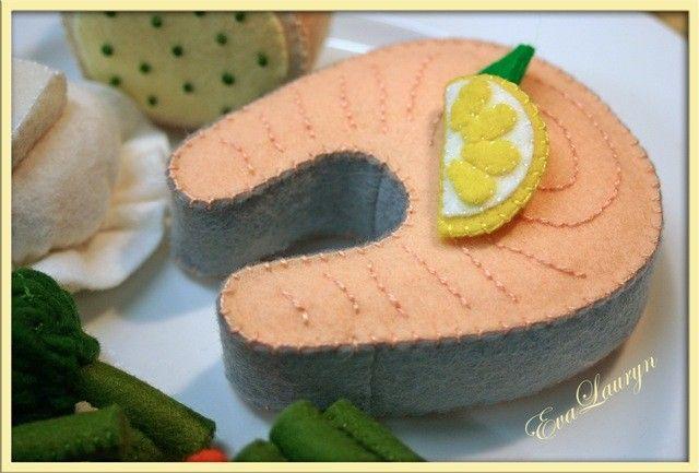 Wool Felt Salmon Steak - Waldorf  Inspired Felt Play Food Accessory for Imaginative Play