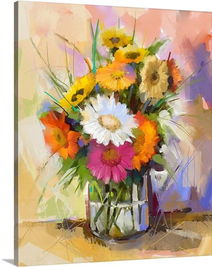 Glass vase with bouquet of  gerbera flowers | Great Big Canvas