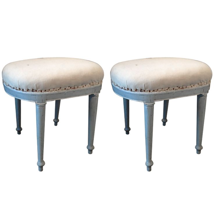 Pair of Painted Directoire Stools 1