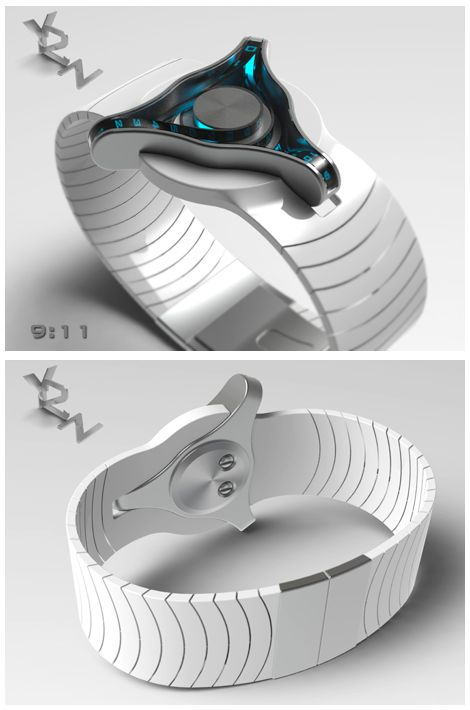 "A futuristic watch design submitted to the Tokyoflash Design Studio Blog by Peter from the UK. ""The time is told by the three belts driven by wheels where the hands would normally be, the top belt displays the hours, the lower left belt 10 min groups and the third lower right belt single minutes."" #futuristicwatches #uniquewatches #watchdesign #tokyoflash #kisai #coolwatches #uniquewatches"