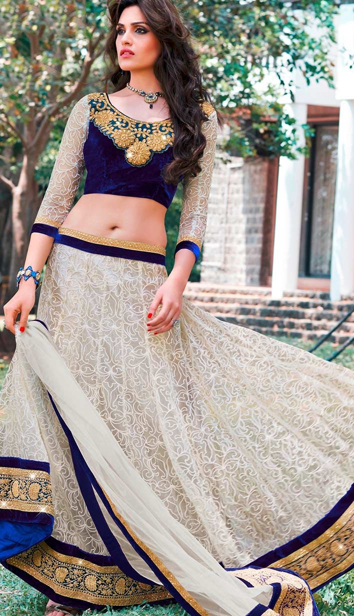 Shop Bollywood Latest Off White Nett #GeorgetteLehengaCholi  Product code: KBL-36942 Price: INR 8809 (Unstitch Blouse), Color: Off White    Shop Online now: http://www.efello.co/Bridal_Bollywood-Latest-Off-White-Nett-Georgette-Lehenga-Choli_35335