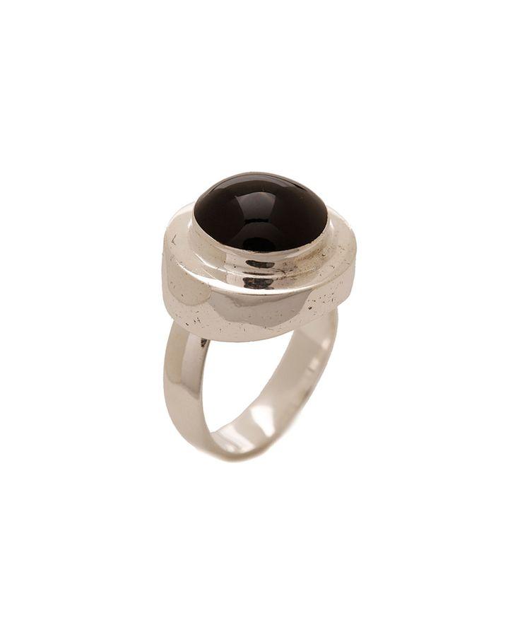 Black Onyx & Balinese Silvertone Ring by MexZotic #zulily #zulilyfinds
