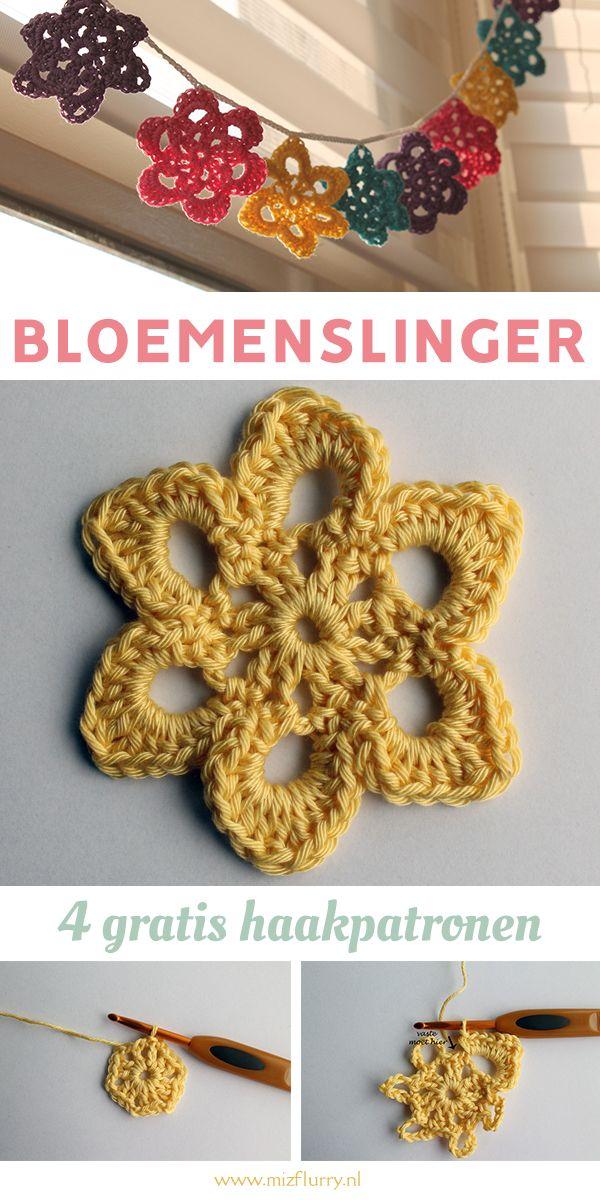 Gehaakte Lenteslinger 4 Bloemenpatronen Haken Crochet