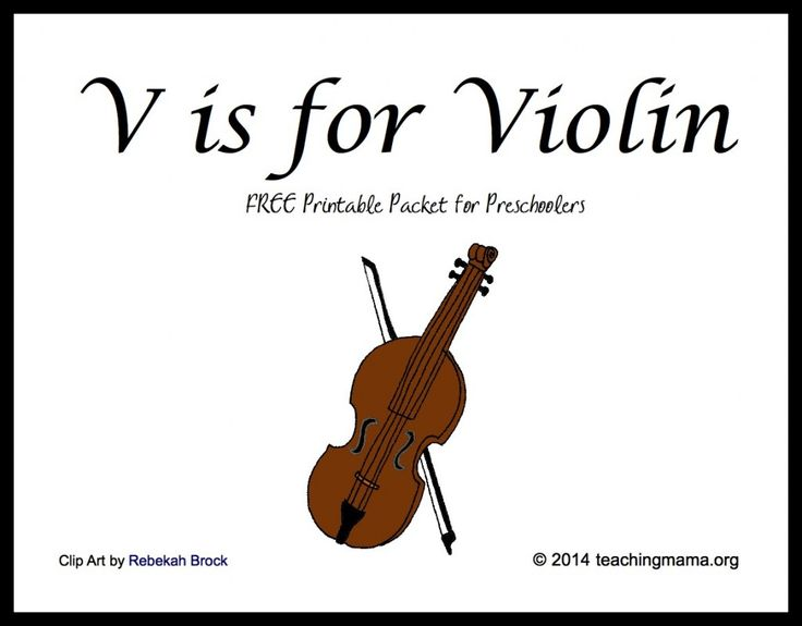 Teaching Mama: V is for Violin-- Letter V Printables for Preschoolers. Pinned by SOS Inc. Resources @SOS Inc. Resources.