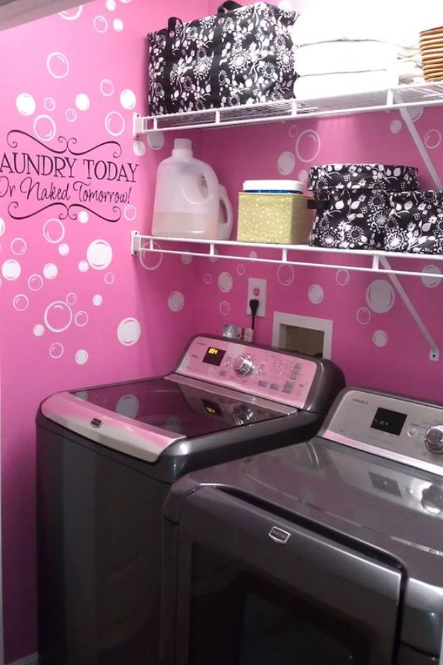 Laundry room with black floral brushstroke products I love this with the statement and the bubbles but I would have done it in Blue with white bubbles
