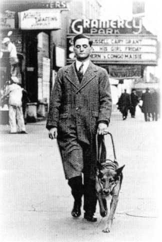 Morris Frank (March 23, 1908-November 22, 1980) was the first person to be partnered with a Seeing Eye dog and the co-founder of The Seeing Eye. He traveled the United States and Canada to promote the use of guide dogs for people who are blind or visually impaired, as well as the right of people with guide dogs to access restaurants, hotels, transportation, and other places that are open to the general public.