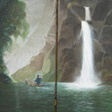 The canoe in the Tsitsikamma with water fall is two panels each one 25  x 50 cm. Price R900 for the two together. (R450 each)
