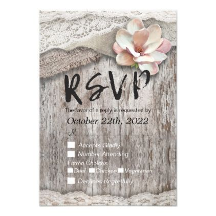 #Rustic Wood Burlap Lace Floral Wedding RSVP Reply Card - #barn #wedding #rustic #invitation #cards #party #ideas