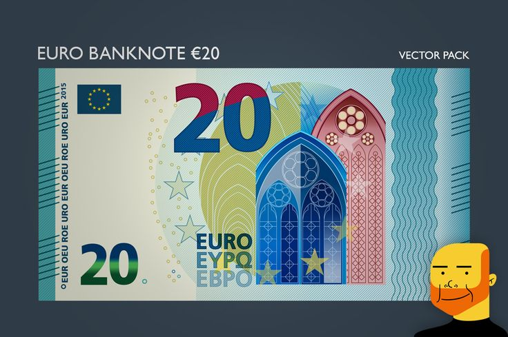 Euro Banknote €20 (Vector) by Paulo Buchinho on Creative Market
