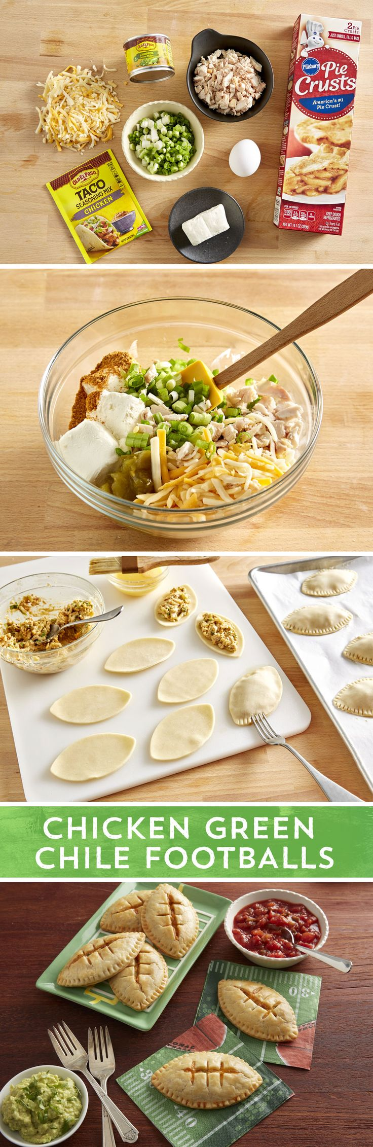 The perfect addition to any game day gathering; these empanadas are a cinch to make. Rotisserie chicken mixed with green onions, cheese, Old El Paso™ chopped green chiles, cream cheese, and Old El Paso™ chicken taco seasoning makes the perfect filling for these easy empanadas using Pillsbury™ refrigerated pie crusts. Rivalries will be put on hold when these hit the table.